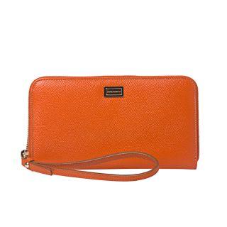 Dolce & Gabbana Orange Leather Zip around Wristlet