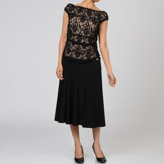 Marina Womens Black Lace Overlay Off the Shoulder Dress