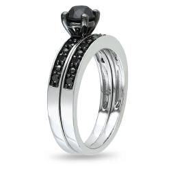 Miadora 10k White Gold 1ct TDW Black Diamond Bridal Ring Set