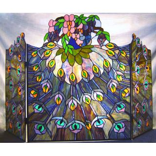 Tiffany style Stained Glass Fireplace Screen