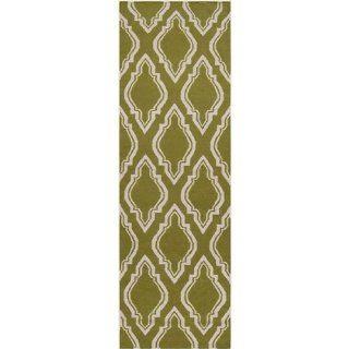 2.5 x 8 Diamond Scroll Avocado Green and White Wool Area