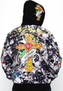 Ed Hardy Mens Specialty Fur Lined Alley Cat Hoodie Jacket