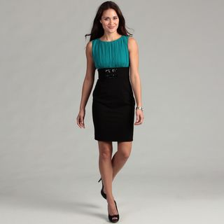 Calvin Klein Womens Colorblock Belted Dress