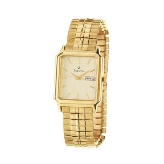 Bulova Mens Dress Goldplated Stainless Steel Quartz Watch
