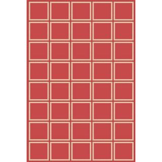 Boxes Red Outdoor Rug (111 x 76)
