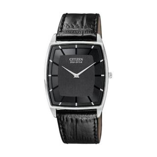 Citizen Eco Drive Mens Stiletto Black Leather Strap Watch