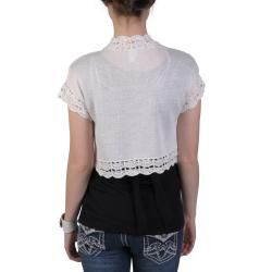 Sangria Womens Open Crochet Trim Short sleeve Bolero Jacket