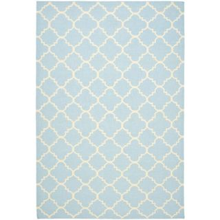 Moroccan Light Blue/ Ivory Dhurrie Wool Rug (6 x 9)