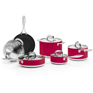 BlinQ 10 piece Red Stainless Steel Cookware Set