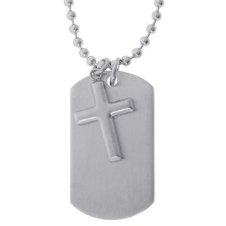 Stainless Steel Two piece Dog Tag with Cross Pendant Necklace