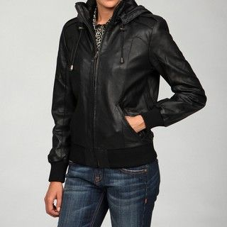 Izod Womens Lamb leather Hooded Knit Detail Jacket