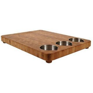 Large Bamboo Prep Board with 3 Stainless Steel Bowls