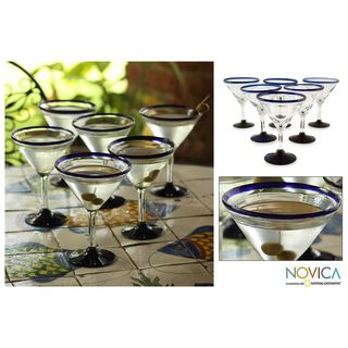 Set of 6 Cobalt Joy Martini Glasses (Mexico)