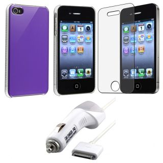 Purple Case/ Screen Protector/ Car Charger for Apple iPhone 4S