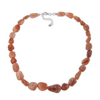 Sterling Silver Handmade Sunstone Bead Necklace
