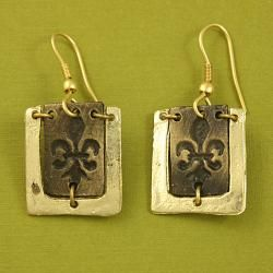 Handcrafted Pewter Goldtone Fleur de lis Cord Necklace And Earrings