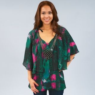 Madison Paige Womens Mixed Print Layered Tunic Top with Detachable