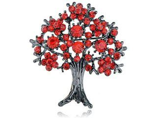Ruby Red Crystal Rhinestone Fall Cherry Bloom Flower
