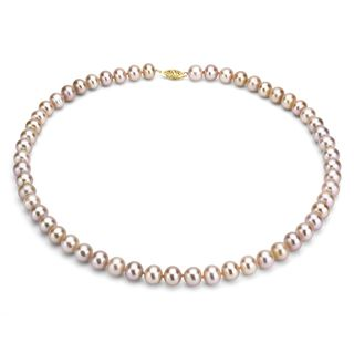 DaVonna 14k 10 11mm Pink Freshwater Cultured Pearl Strand Necklace (16