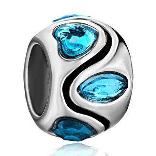 Pugster Swarovski Crystal Heart Charm Beads Fit Pandora