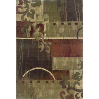 Baldwin Green/Red Contemporary Area Rug (99 x 122)