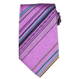 Versace Mens Greek Key/ Multi stripe Silk Tie