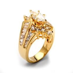 Ultimate CZ 14k Goldplated Marquise cut Cubic Zirconia Ring