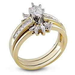 Miadora 14k Yellow Gold 1/2ct TDW Diamond Bridal Ring Set (E F, I1 I2