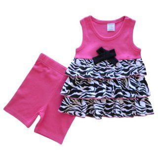 Cutie Pie Baby Girls Zebra Animal Print Tier Layered Ruffle Top and