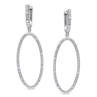 Miadora Sterling Silver 1/10ct TDW Diamond Dangle Earrings