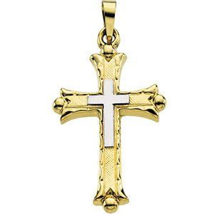 Double Cross 14k Yellow Gold and White Gold Pendant