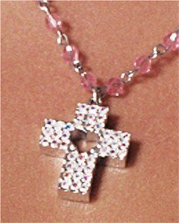 Sterling Silver Rosary Bead Necklace w/ Crystal Cross, 18