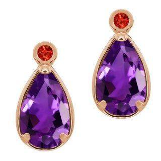 2.02 Ct Pear Shape Purple Amethyst Red Garnet 14K Rose