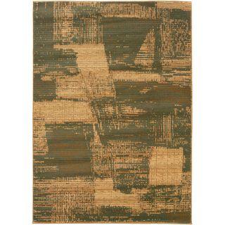 Acadiah Green/ Cream Abstract Area Rug (92 x 125)