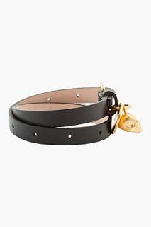 Alexander McQueen Black Antique Gold And Crystal Skull Charm Bracelet for men