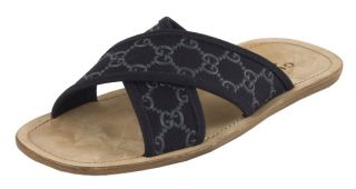 Gucci Mens Navy Canvas Crisscross Sandals