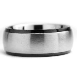 Two tone Stainless Steel Men?s Dome Ring (8 mm)