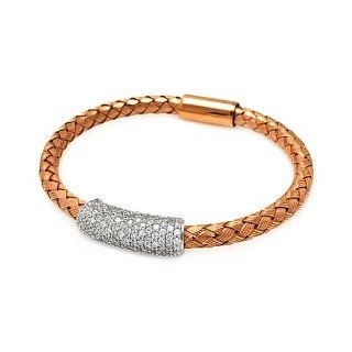 .925 Sterling Silver Rose Gold Plated Braided Italian