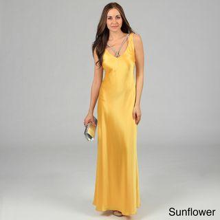 Issue New York Womens Rhinestone Necklace Open back Evening Dress