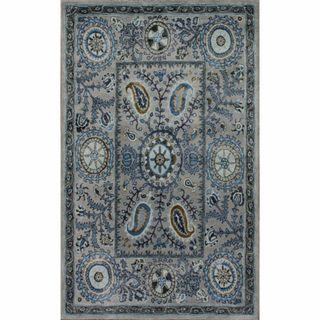 Handmade Paisley Suzanni Light Blue Wool Rug