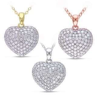 Miadora Sterling Silver 1ct TDW Pave Diamond Heart Necklace