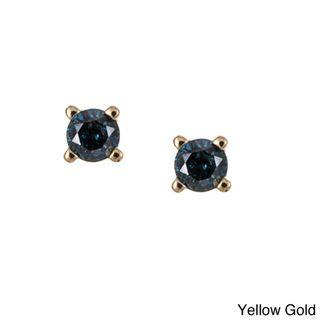 10k Gold 1/8ct TDW Blue Diamond Earrings