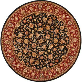 Handmade Persian Court Black/ Red Wool and Silk Rug (6 Round