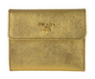 Prada Gold Saffiano Leather Tri fold Wallet