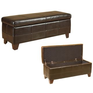 Milano Brown Leather Storage Bench