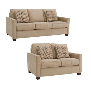 Jamie Sand Fabric Sofa and Loveseat
