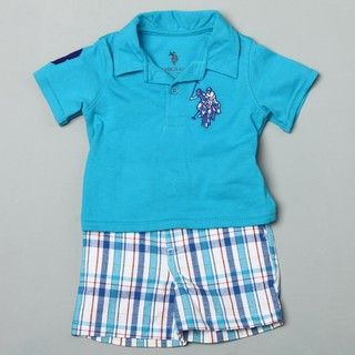 US Polo Toddler Boys Polo with Plaid Shorts