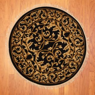 Indo Hand knotted Tibetan Black/ Ivory Wool Rug (311 Round