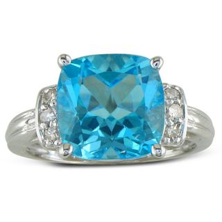 10k White Gold 1/8ct TDW Diamond Blue Topaz Ring