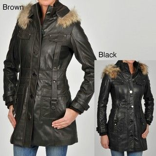 Knoles & Carter Womens Four Pocket Hooded Leather Jacket